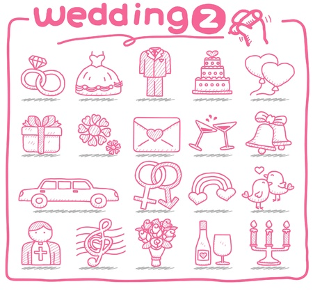 cartoon wedding couple: hand drawn wedding icons
