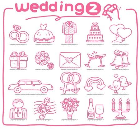 c�r�monie mariage: la main des ic�nes de mariage �tabli Illustration