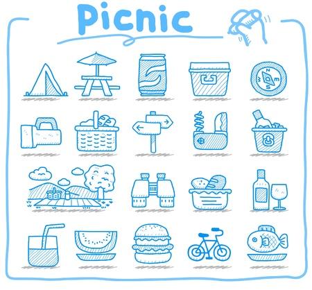 손으로 그린 웹 아이콘, 피크닉 & 캠핑 아이콘, 여행 & 휴가 아이콘, 아이콘 설정, 웹 버튼 - 벡터, 인터페이스,