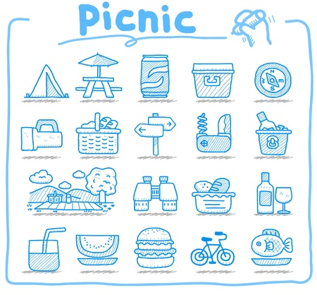 Hand drawn web Icons,picnic & camping icons, travel & holiday icons, icons Set, web buttons - Vector , interface,  Stock Vector - 10585345