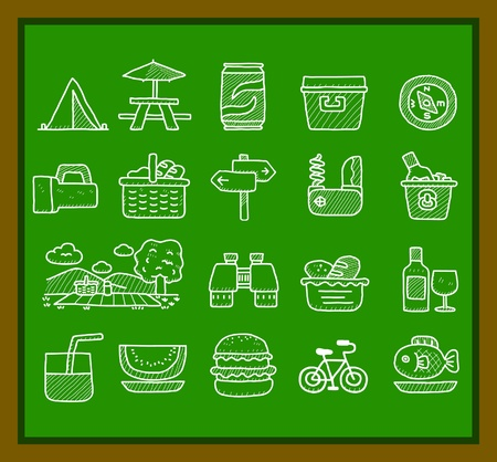 picnic park: Hand drawn web Icons,picnic & camping icons, travel & holiday icons, icons Set, web buttons - Vector , interface,