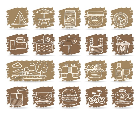 Hand drawn web Icons,picnic & camping icons, travel & holiday icons, icons Set, web buttons - Vector , interface,  Vector