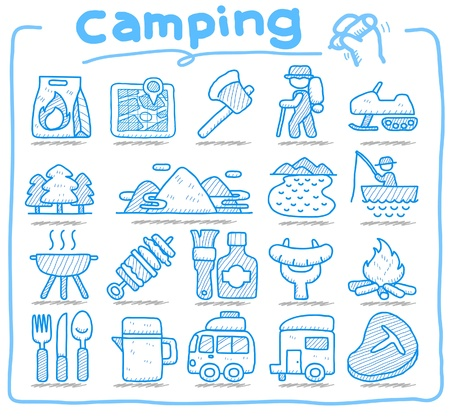 Hand drawn web Icons,picnic & camping icons, travel & holiday icons, icons Set, web buttons - Vector , interface,  Stock Vector - 10585344