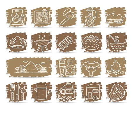 Hand drawn web Icons,picnic & camping icons, travel & holiday icons, icons Set, web buttons - Vector , interface,