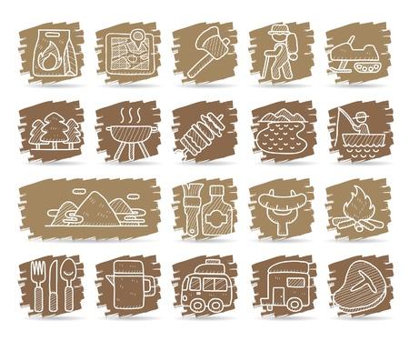 Hand getrokken web pictogrammen, picknick en kamperen pictogrammen, reizen & vakantie iconen, pictogrammen Set, Webknopen - Vector, interface, Stock Illustratie
