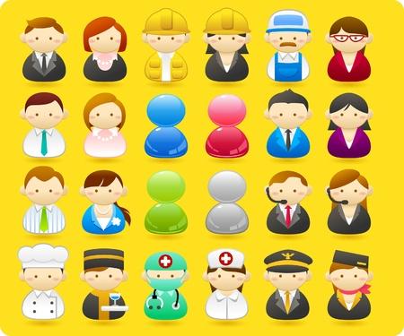 comandante: Gli uomini d'affari, muratori, infermieri, medici, architetto. icon set Vettoriali