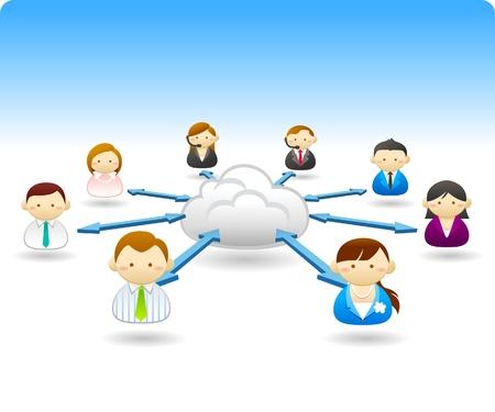 Mensen uit het bedrijfsleven communicatie met cloud Stock Illustratie