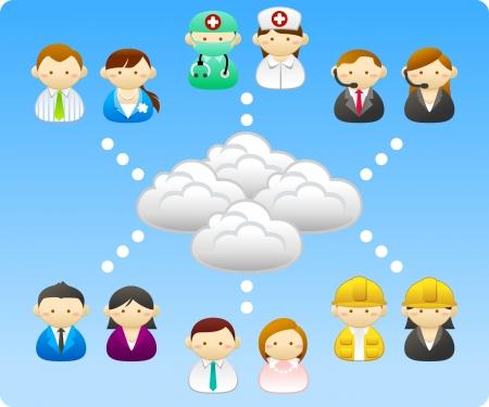 구름과 비즈니스 사람들이 통신