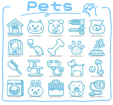 pet food: Hand drawn pet animals and objects icon set