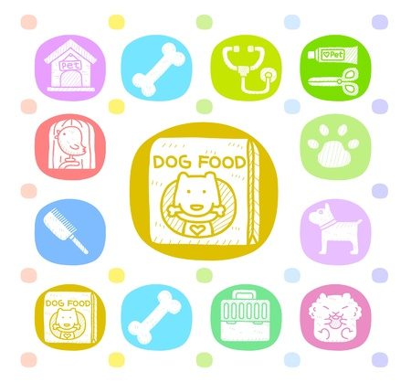 Hand drawn pet animals and objects icon set  Stock Vector - 10585333