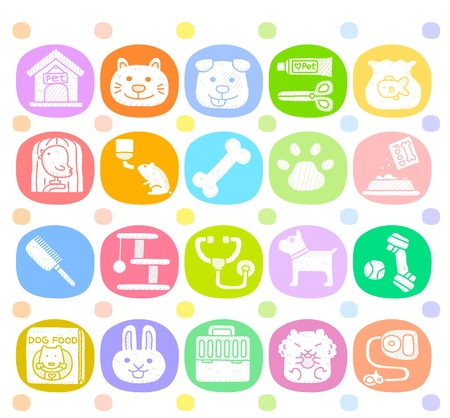 dog food: Hand drawn pet animals and objects icon set