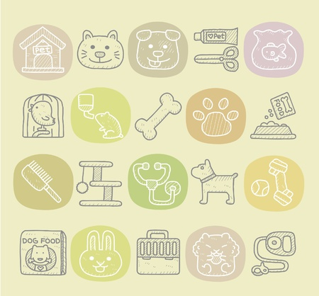 dog and cat: Hand drawn pet animals and objects icon set