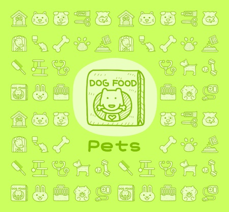 Hand drawn pet animals and objects icon set
