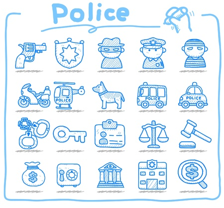 hand drawn police , security icon set    Vector
