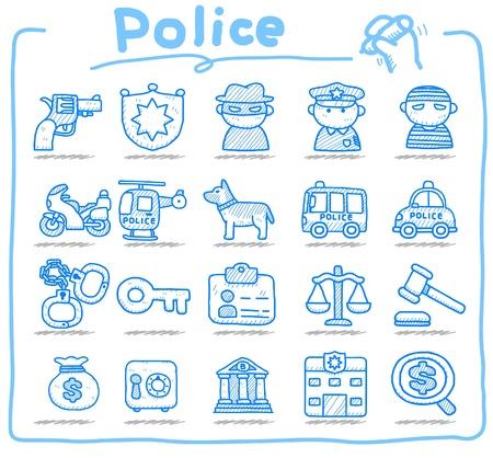 perro policia: polic�a dibujado mano, conjunto de iconos de seguridad