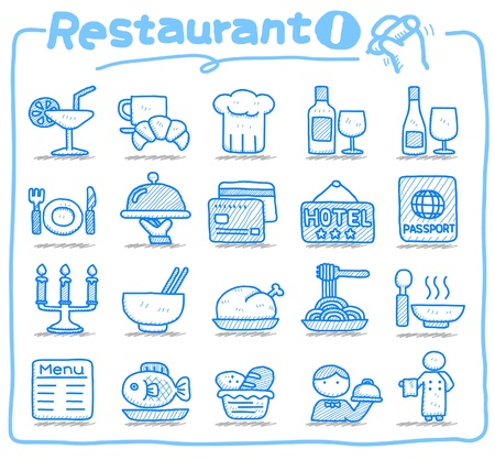 Hand drawn Restaurant Icon set Vector