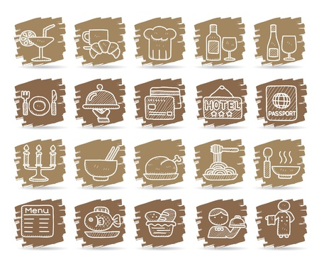 Hand drawn Restaurant Icon set Stock Vector - 10585361