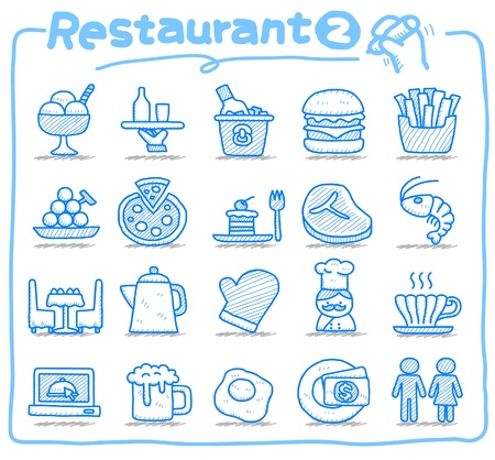 Hand drawn Restaurant Icon set Stock Vector - 10585347