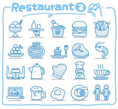 clean kitchen: Hand drawn Restaurant Icon set