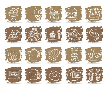 gourmet: Hand drawn Restaurant Icon set