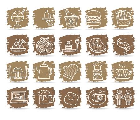 gourmet cooks: Hand drawn Restaurant Icon set