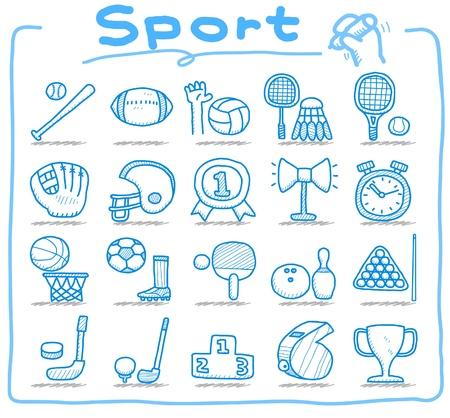 Conjunto de iconos de deporte dibujado a mano  Foto de archivo - 10585340