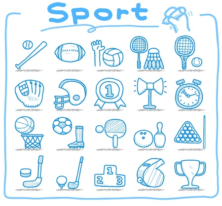 sports icon: conjunto de iconos de deporte dibujado a mano  Vectores
