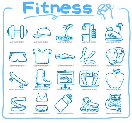 hand drawn fitness icon set  Ilustracja