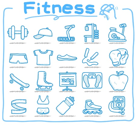 drawn by hand: hand drawn fitness icon set  Illustration