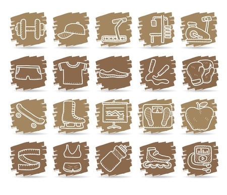 hand drawn fitness icon set Stock Vector - 10585355