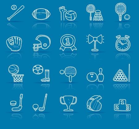 hand drawn sport icon set  Vector