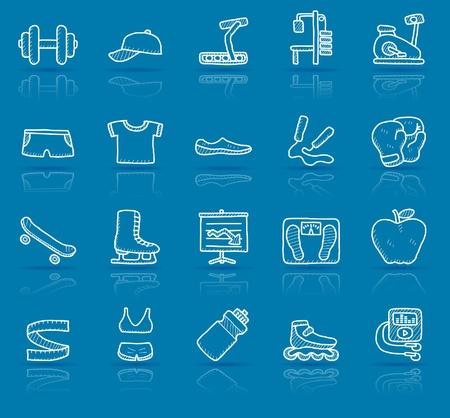 gym equipment: disegnati a mano idoneit� set di icone