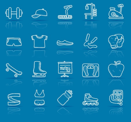 hand drawn fitness icon set  Vector
