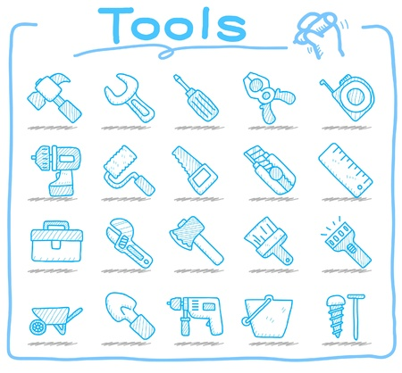 tool bag: tools icon set  Illustration
