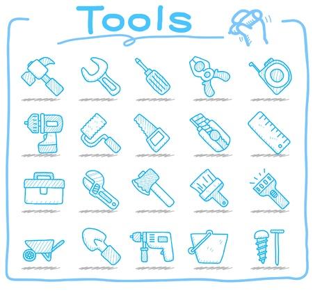 Hand drawn: tools icon set  Illustration