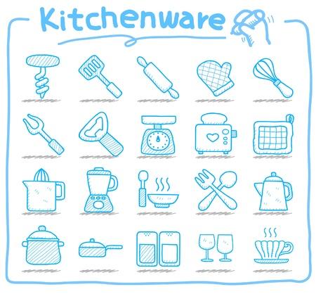 viande couteau: icon set de cuisine Illustration