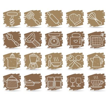 kitchenware icon set Stock Vector - 10585354