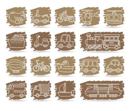 Coche de dibujos animados, vehículos, maquinaria, transporte conjunto de iconos Foto de archivo - 10585357