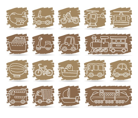 flying boat: coche de dibujos animados, veh�culos, maquinaria, transporte conjunto de iconos
