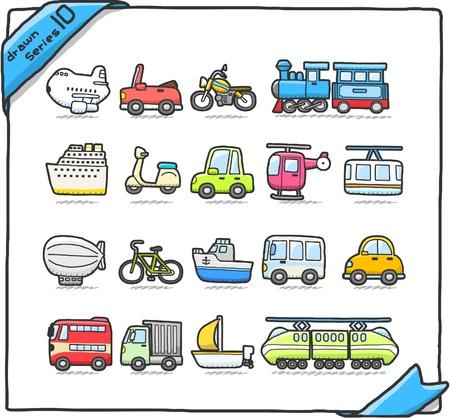 mode of transportation: fumetto auto, macchina, veicolo trasporto icon set