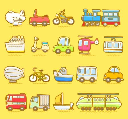 passenger vehicle: coche de dibujos animados, veh�culos, maquinaria, transporte conjunto de iconos