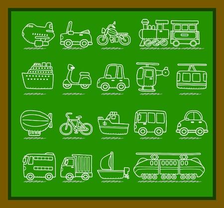 cartoon car,vehicle,machine,transportation icon set Stock Vector - 10585341
