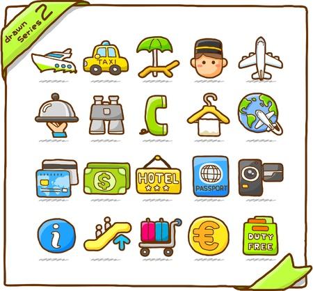 Hand drawn travel icon, vacation, trip