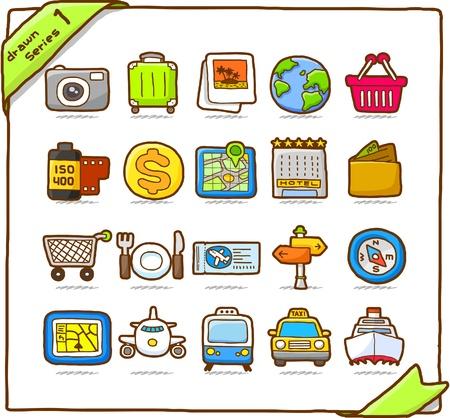 Icono de mano dibujada viajes, vacaciones, viaje  Foto de archivo - 10567284