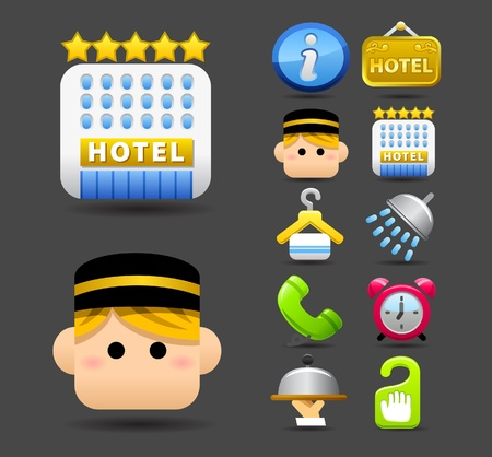 hotel icon: travel icon set  Illustration