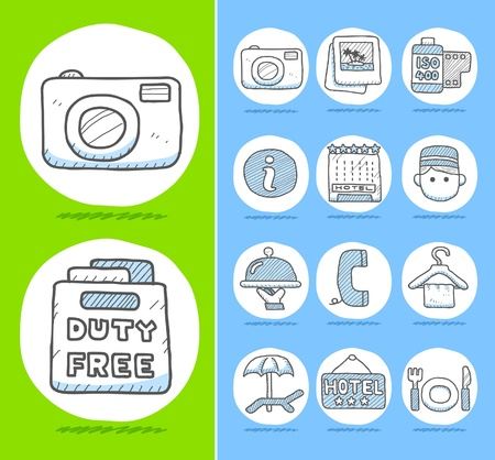 Hand drawn travel icons  Stock Vector - 10567281