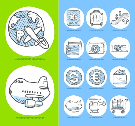 group travel: Hand drawn travel icons