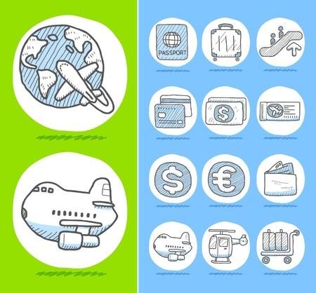 religious icon: Iconos de viajes dibujado a mano