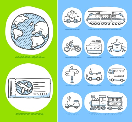 Hand drawn travel icons  Stock Vector - 10567286