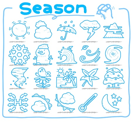 hand drawn season,weather icon set Vector